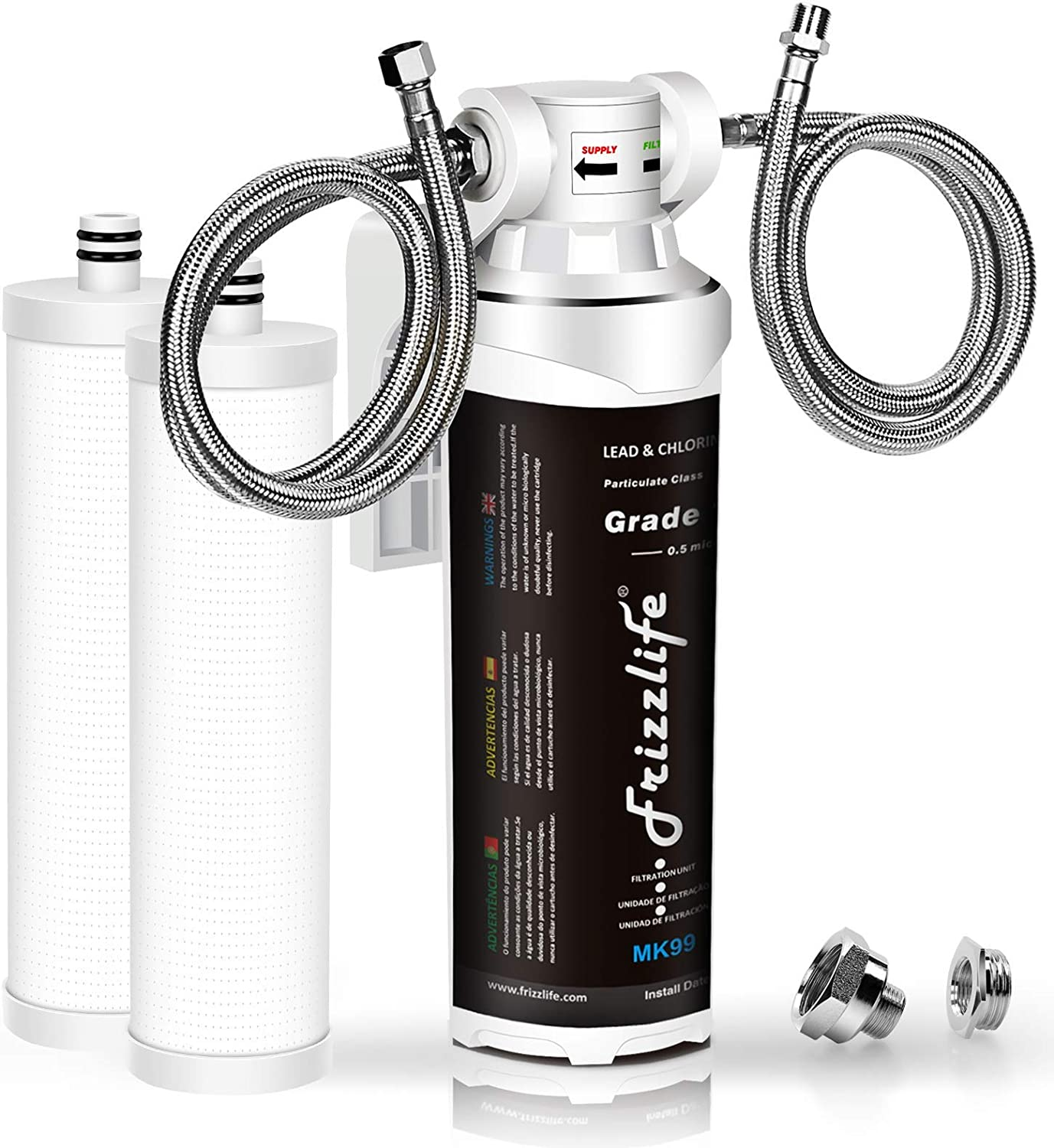 Frizzlife Under Sink Water Filter System-High Capacity Direct Connect Under Counter Drinking Water Filtration System-0.5 Micron Quick Change, 1 Extra Filter Included.