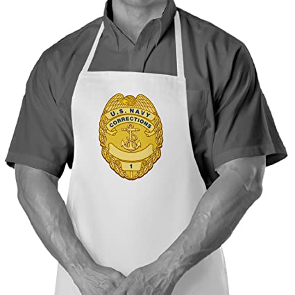 Cooking / Grilling Apron With US Navy Corrections, Officer Badge   Durable  Spun Polyesther