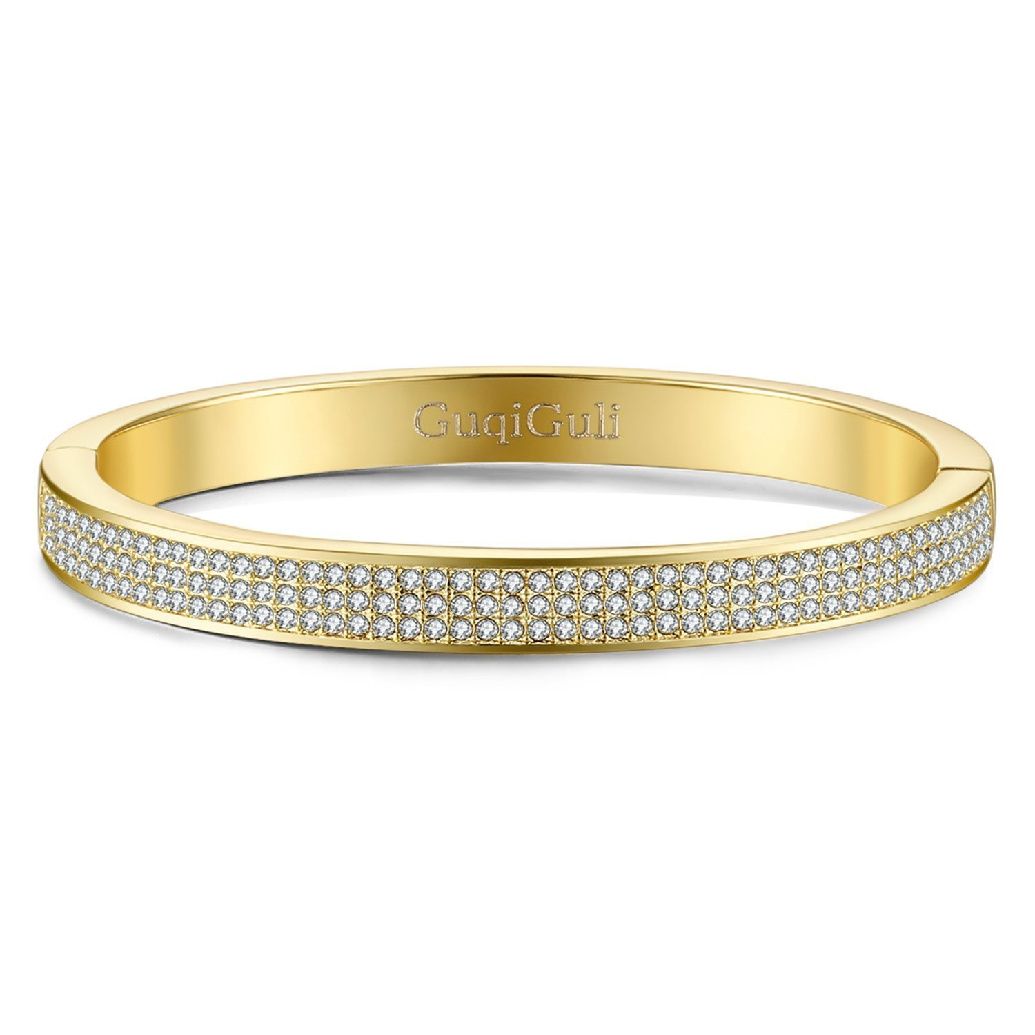 GuqiGuli Swarovski Elements Crystal Pave Oval 14K Gold-Tone Bangle Bracelet for Women, 7.4''