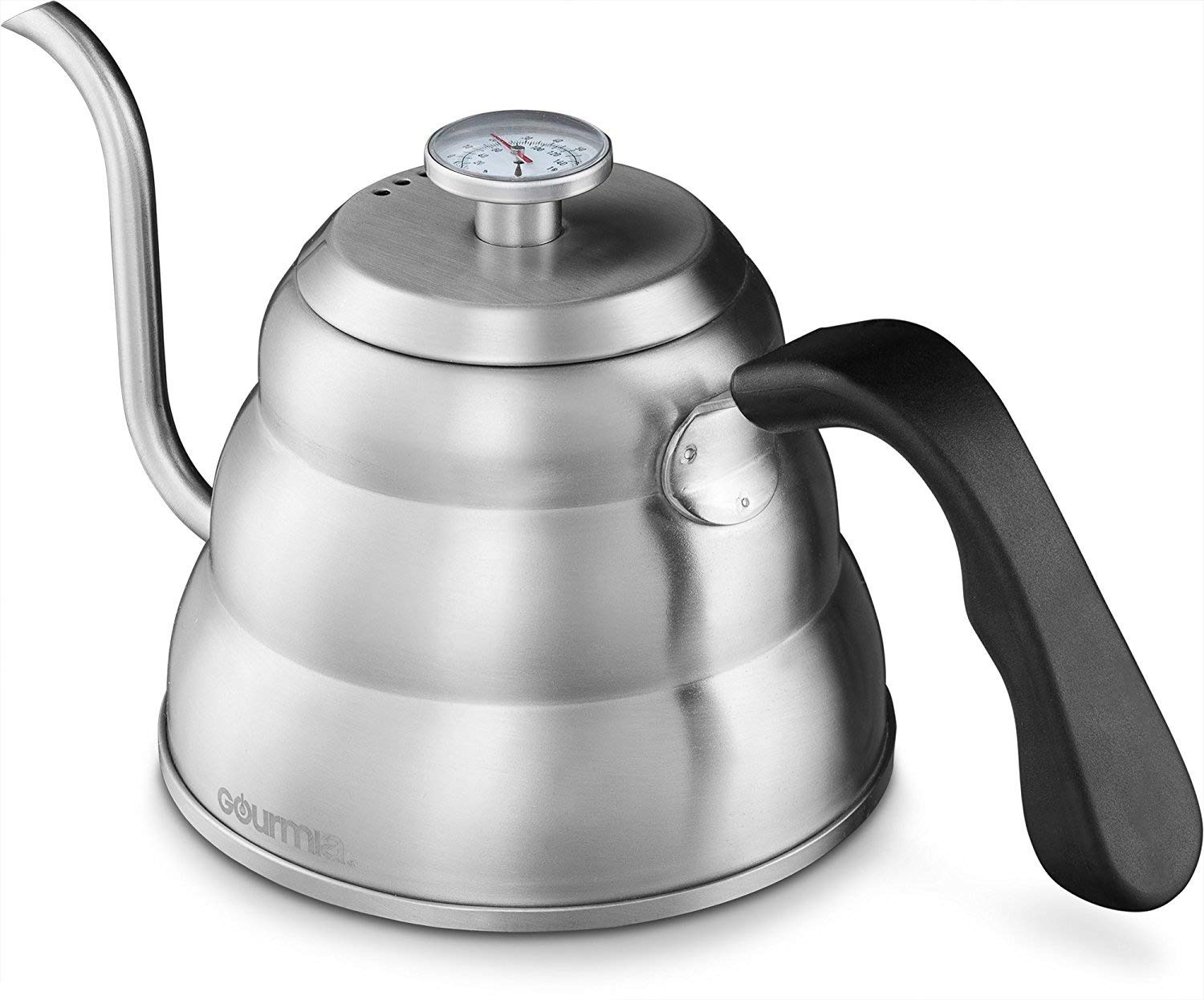 Gourmia GCK9975 Pour Over Coffee Kettle with Built In Thermometer For Perfect Temperature and Gooseneck Spout - Stainless Steel Stovetop Tea Pot - Induction Stove and Fire Safe - 1 Liter