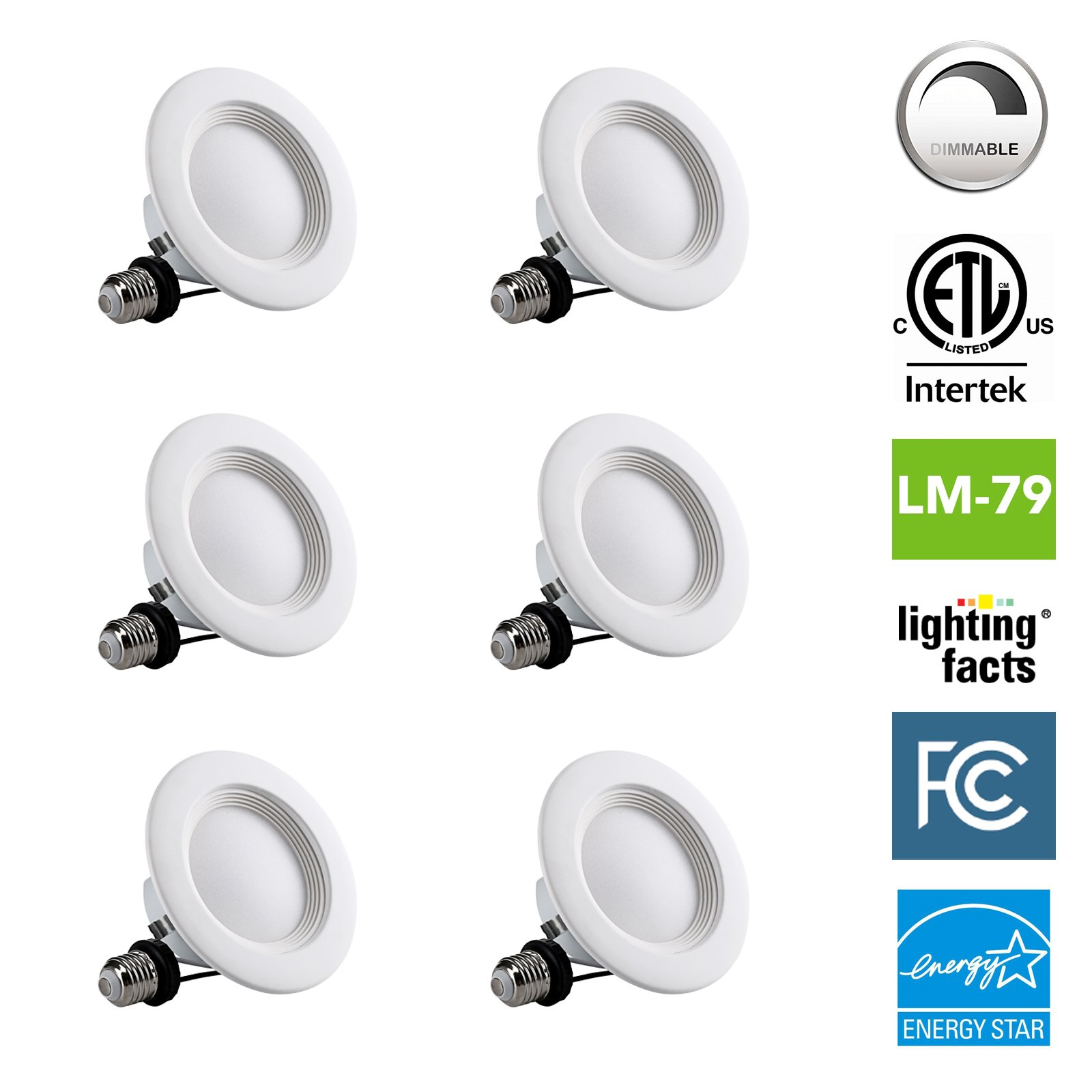 NASUN 4 Inch Dimmable LED Downlight, ENERGY STAR, ETL, FCC, 9W, CRI80+, Recessed Retrofit Downlight Lighting Fixture - (Pack of 6), 5 Year Warranty