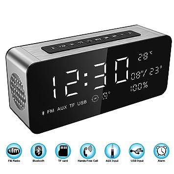 Soundance Reloj de Alarma con radio de Pantalla Grande Bocina Bluetooth con sonido Premium HD & gran pantalla LED para la hora/fecha/temperatura, ...