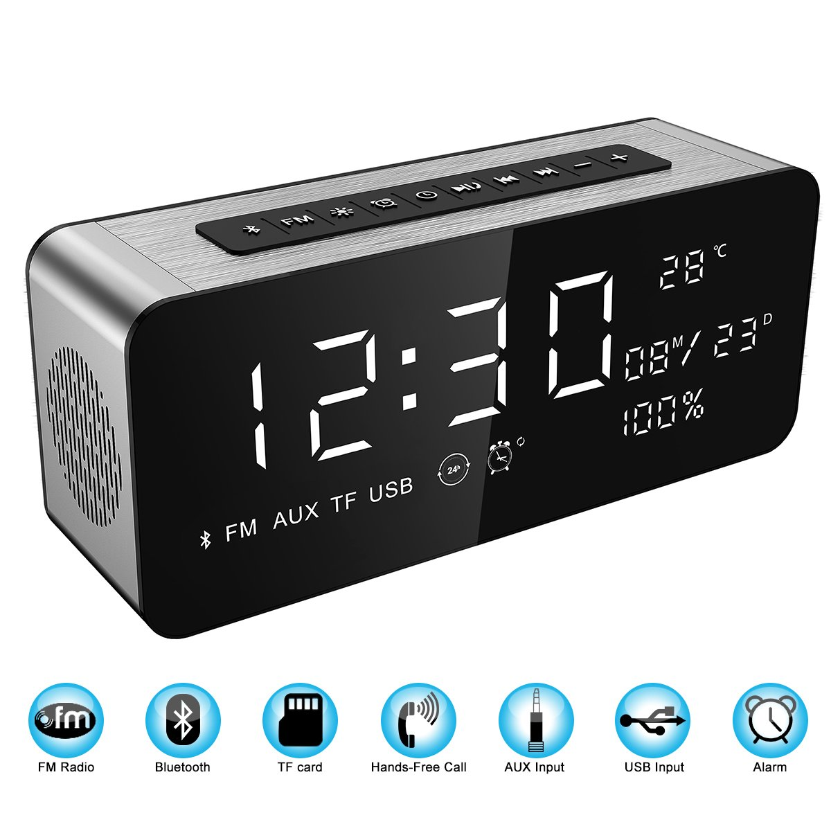 Orionstar Alarm Clock Radio with FM Wireless Speaker for Bedroom with 8 Inch LED Screen Snooze Sleep Timer Dimmer USB Port Thermometer Display TF AUX Micro SD Widely Compatible Model S1