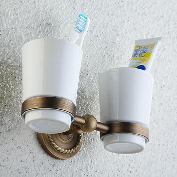 Ye @ doble vidrio cepillo de dientes montaje de accesorios de baño de cobre: Amazon.es: Hogar
