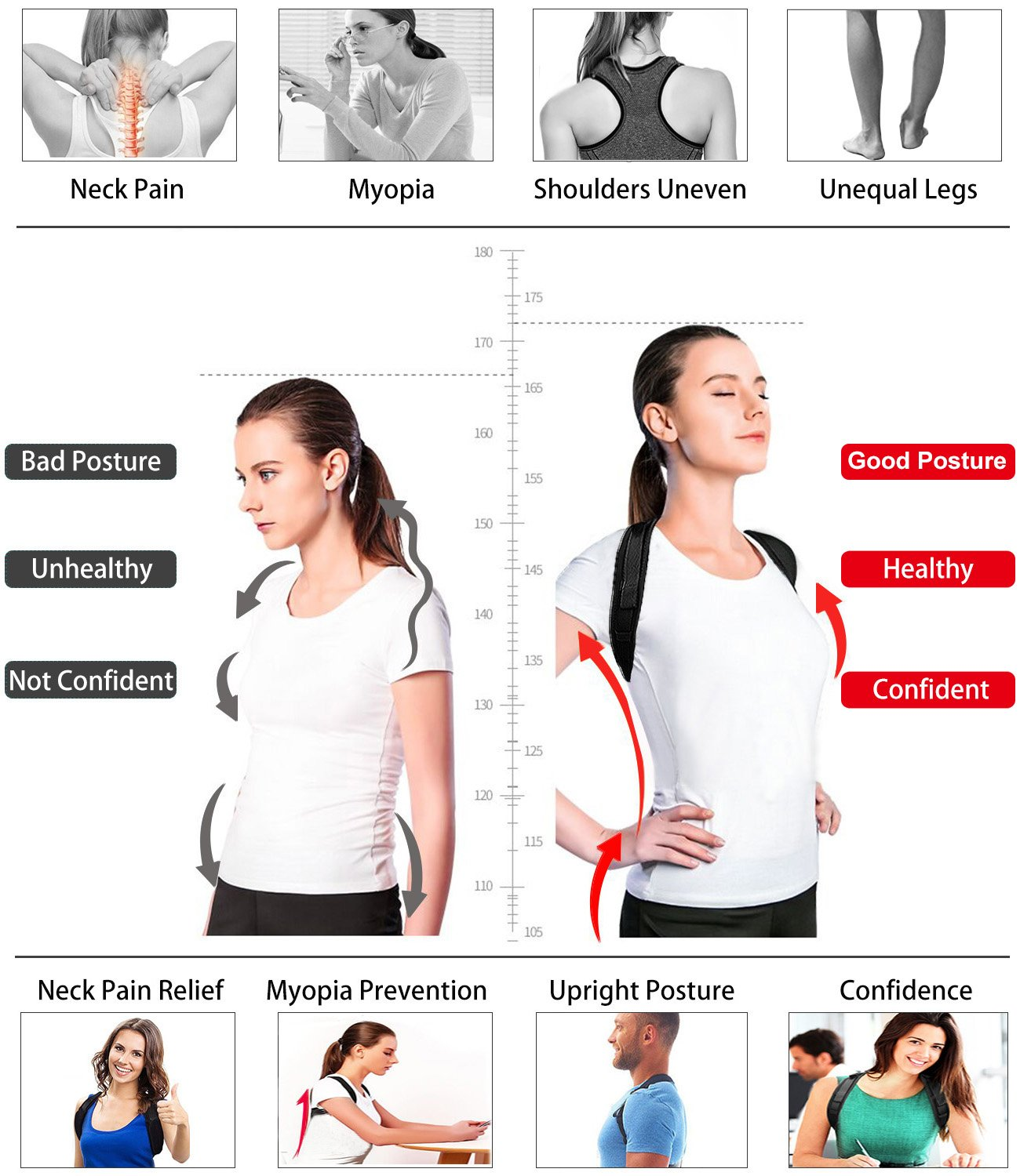 CMflower Posture Corrector 2018 New Easy Adjust Buckle Design Unnoticeable Back Brace with Yoga Strap and Carry Bag Breathable Soft Material for Men Women Kids to Correct Hunching Slouch Bad Posture by CMflower (Image #4)
