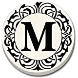 """CounterArt 'Initially Yours' Absorbent Stoneware Car Coaster, Monogrammed """"M"""""""