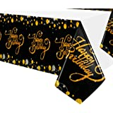 Tablecloth for Birthday Party Supplies - Black and Gold Happy Birthday Party Table Cloth, Disposable Plastic Table Cover Clot