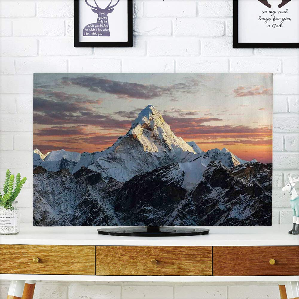 iPrint LCD TV dust Cover Strong Durability,Apartment Decor,Evening of South Asian High Mountain Above The Sky with Colorful Nepal Everest Photo,Multi,Picture Print Design Compatible 42'' TV