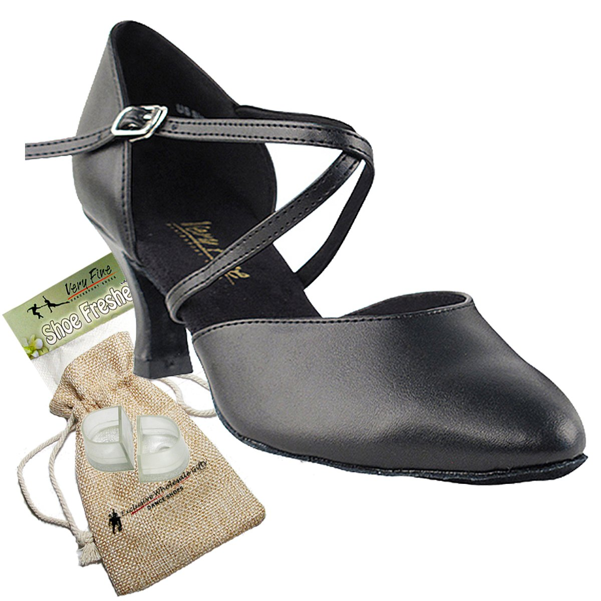 Women's Ballroom Dance Shoes Tango Wedding Salsa Dance Shoes Black Leather 9691EB Comfortable - Very Fine 2.5'' Heel 9 M US [Bundle 5]