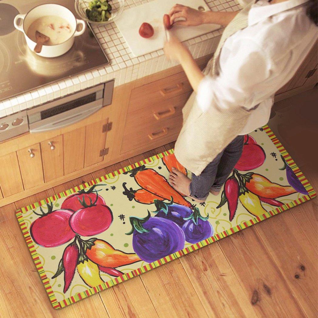 USTIDE Colorful Vegetable Design Rugs Waterproof Rubber Kitchen Rugs Runner