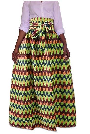 19b6eac79d5 SportsX Women Plus-Size African Print Dashiki Pleated Waist Belt Maxi Skirt  AS1 XS