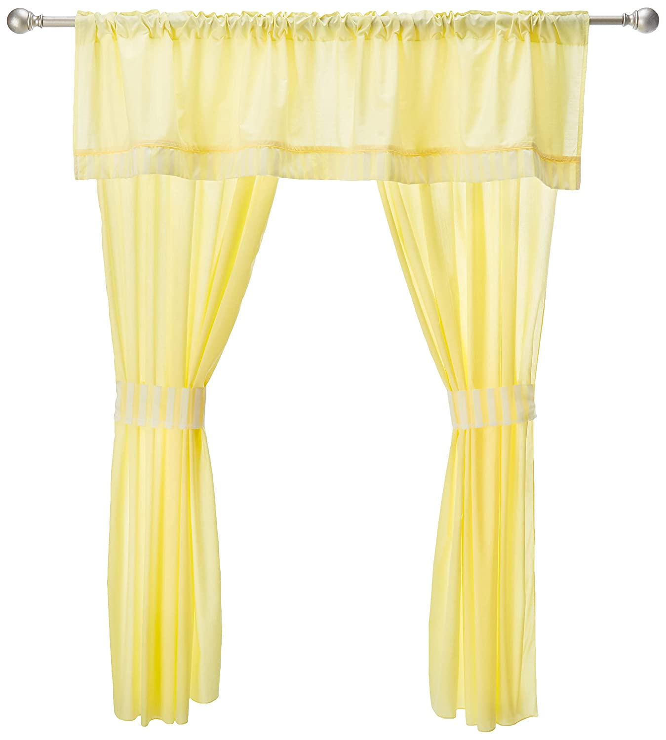 Baby Doll Candyland 5 Piece Window Valance and Curtain Set Yellow