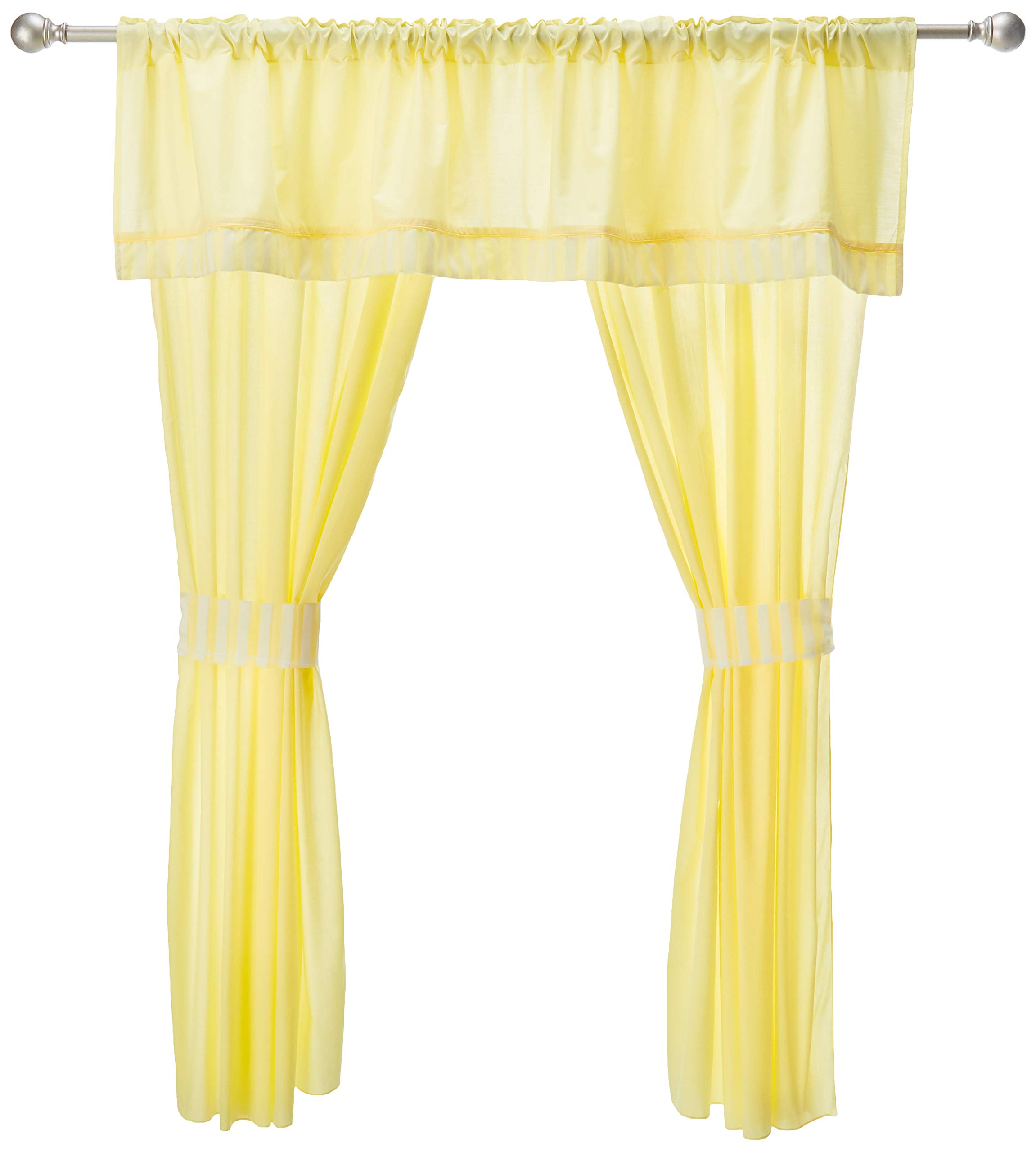 Baby Doll Candyland 5 Piece Window Valance and Curtain Set, Yellow by Baby Doll