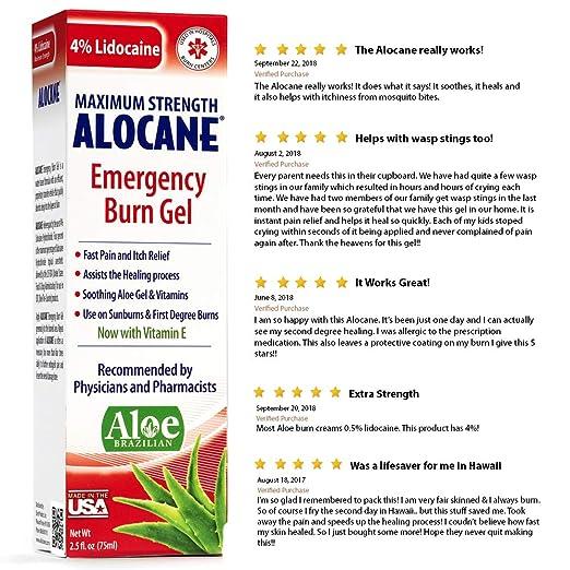 Amazon com: Alocane Emergency Burn Gel, 4% Lidocaine Maximum