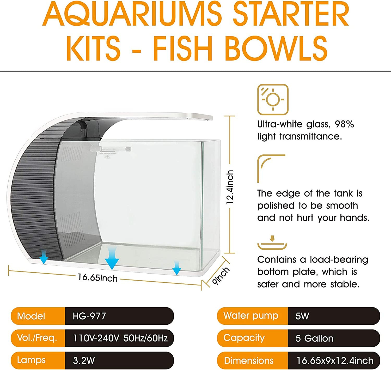 5W Water Pump Rainwater and Ducks Mouth Outlet Hidden Filtration Box and Material Arc-Shaped Aquarium Kit with 3.2W Led Lighting Fish Tank Glass Cover hygger 5 Gallon Fish Aquarium Starter Kits