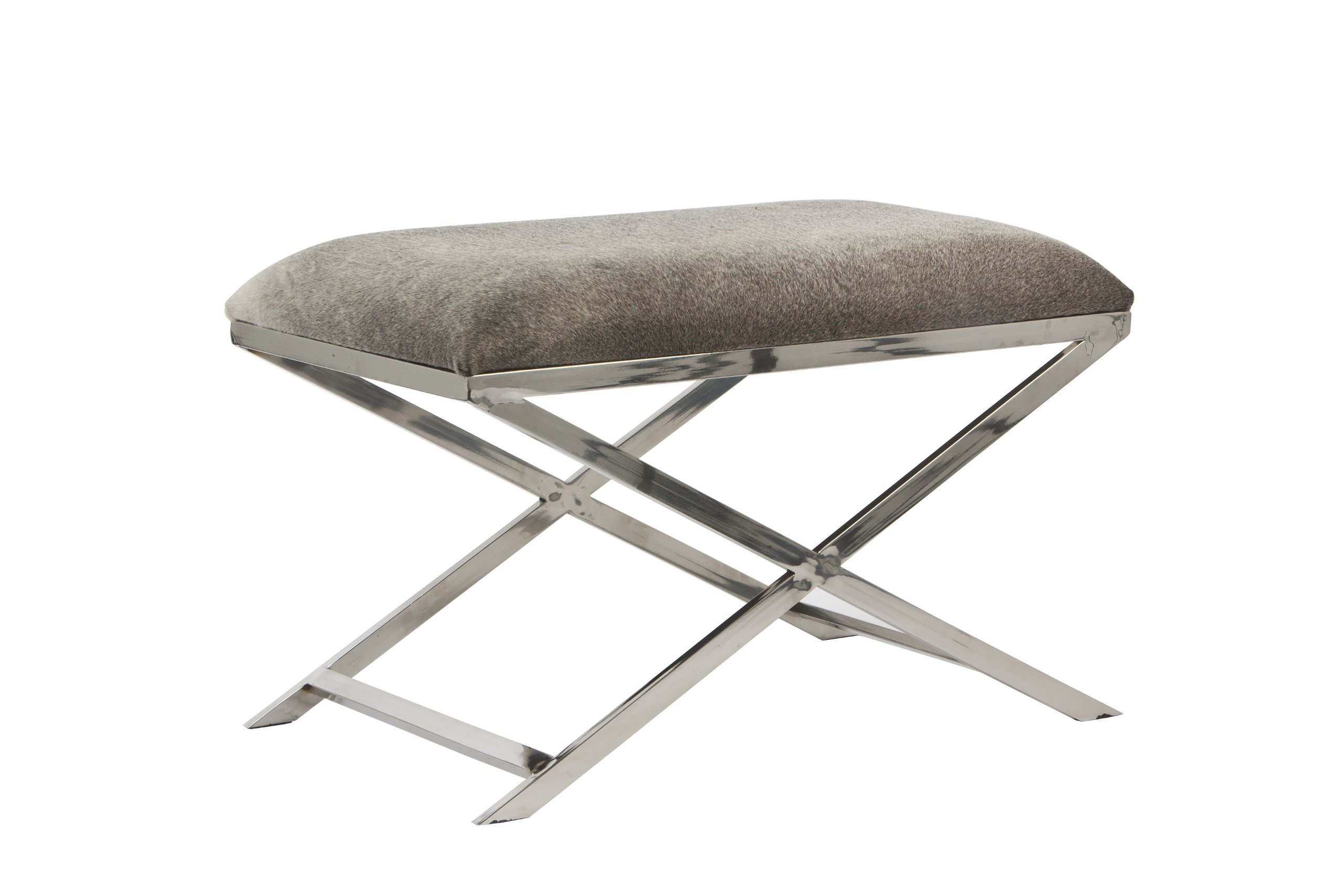 The SAM Rectangle Nickel Stool with Grey Cowskin, 29.5 x 18 x 19h