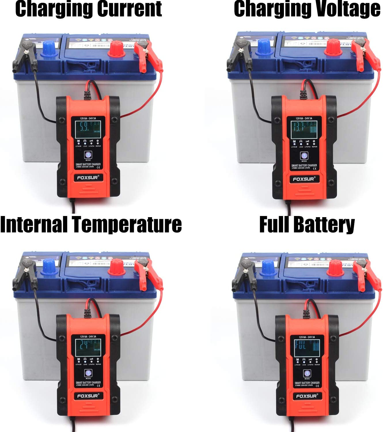 Lithium Battery Charger 6Amp 12V//24V Fully Automatic Battery Charger Maintainer HDJDZ Car Battery Charger Calcium etc lead-acid batteries Delivers 7 Stage Charging for lithium batteries