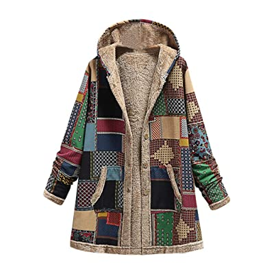 Sttech1 Womens Faux Fur Jackets Colorblock Patchwork Hooded Warm Coats Outwear with Pocket: Clothing