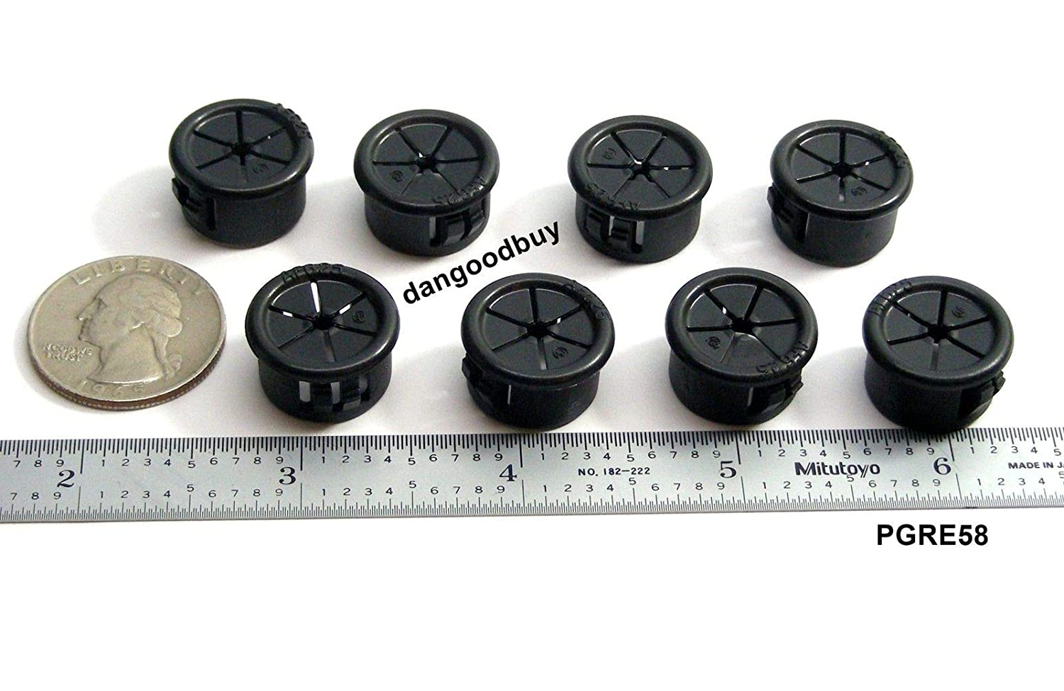 """Black Nylon Fits 3//4/"""" Opening 8 Snap-In Expandable Locking Plastic Grommets"""