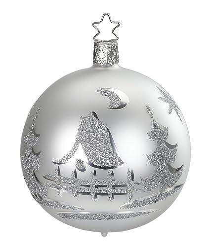 Amazon Com Inge Glas Kugel Ball 8 Cm Christmas Eve White 20209t008