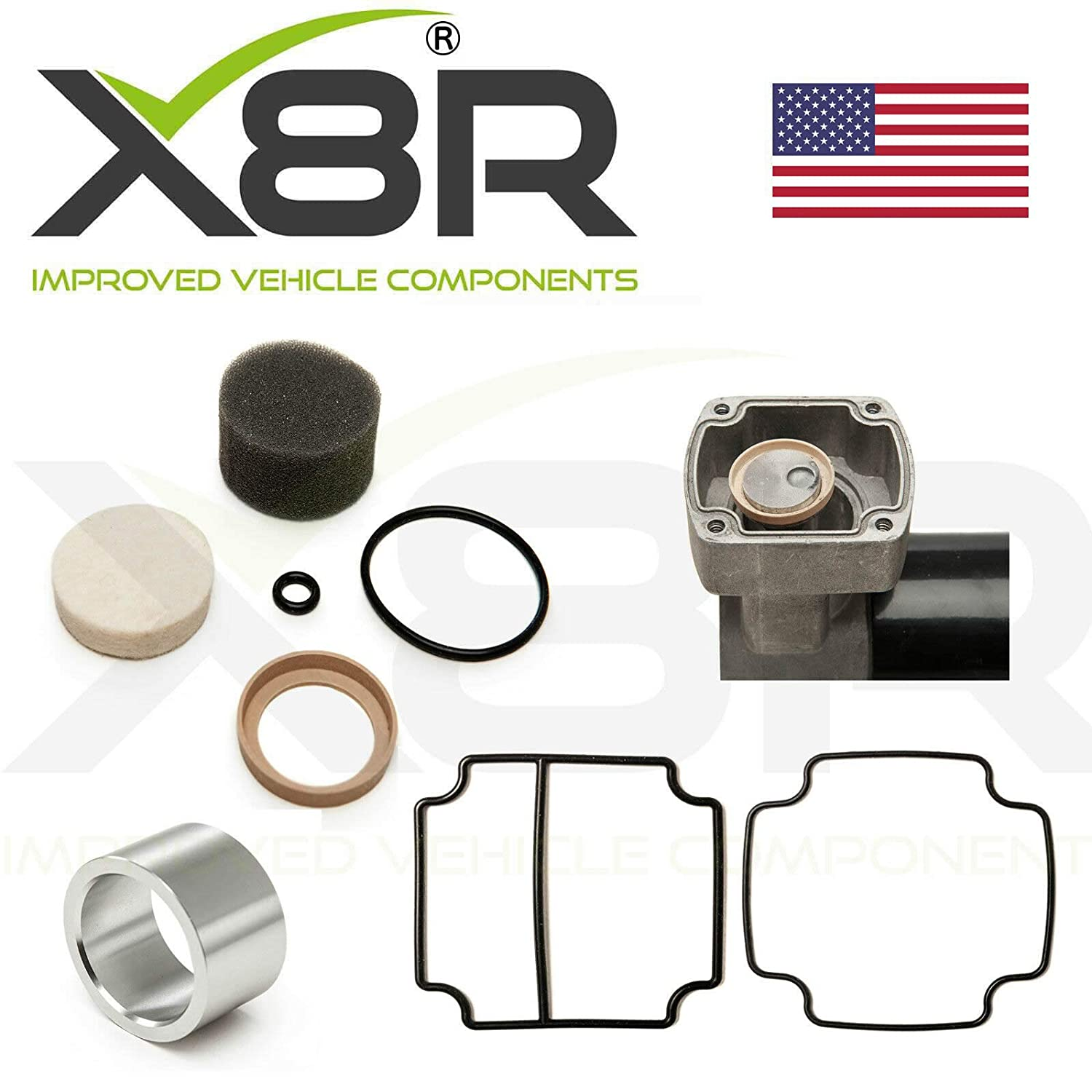 X8R REPAIR AIR SUSPENSION COMPRESSOR PISTON LINER AND SEAL APPLICABLE TO LAND ROVER RANGE ROVER P38 Part # X8R22