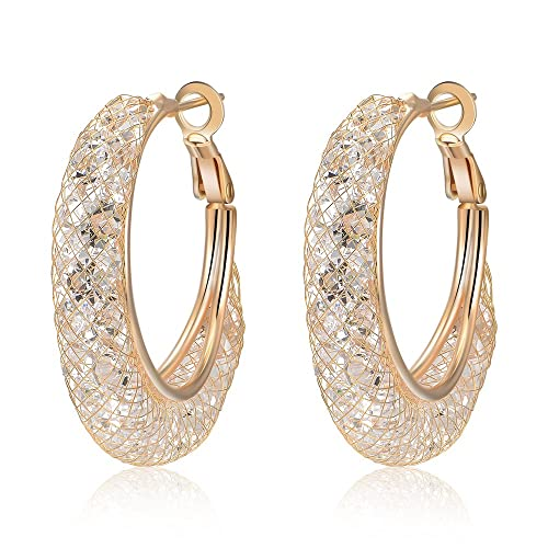 419233062 Amazon.com: Mytys Rose Gold Women's Hoop Earrings Mesh Crystal CZ ...