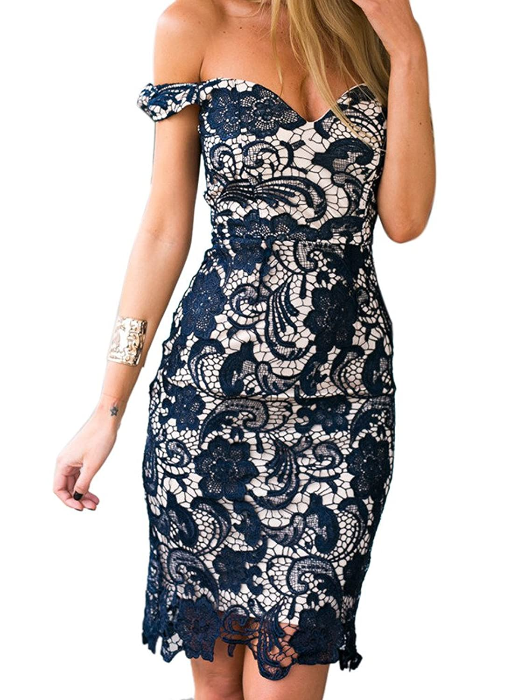 Clothink Women Navy Crochet Lace Off Shoulder Back Slit Bodycon Prom Dress