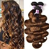 UNice Brown Highlight Body Wave Human Hair Weave 3 Bundles 8 10 12 inch, Brazilian Remy Hair Ombre Blonde Human Hair Wavy Wea