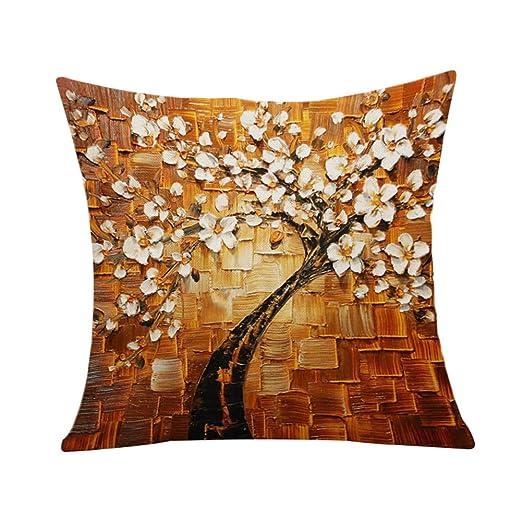 Outflower Funda Almohada Art Europea 3D Tres Dimensiones Pintura árbol Fortuna Árbol Vida Art Funda de Almohada de Dibujo Mano ...