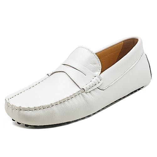 Shenduo Hombre Zapatos Casuales - Mocasines de Cuero Suave sin Cordones cómodos para Hombre D7152