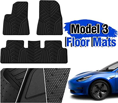 All Weather Waterproof Floor Mats Compatible for Tesla Model 3 Black Rubber Environmental Materials Car Carpet Model 3 Heavy Duty 3 Piece a Set