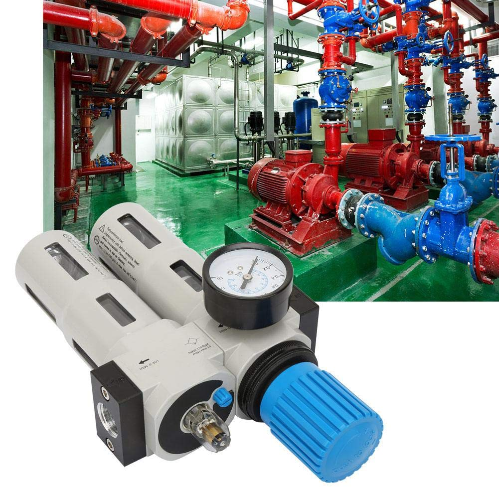G1//2 Air Compressor Filter,Air Source Treatment Oil Water Separator,Air Compressor Filter Oil Water Separator Trap with Regulator Gauge