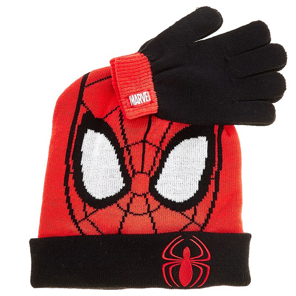 Marvel Spider-Man Boys Beanie Hat and Gloves Winter Set