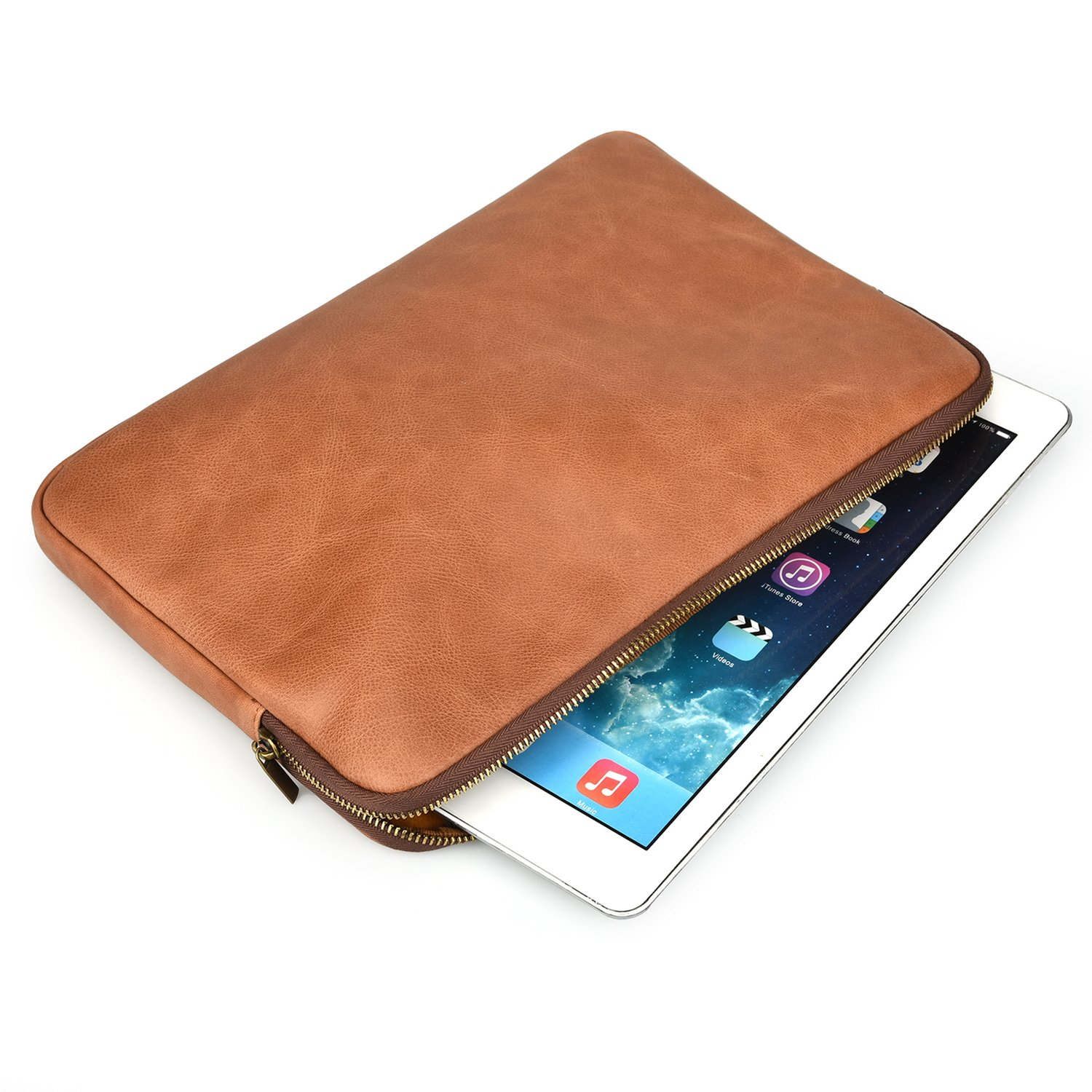 Genuine Leather Sleeve Bag Case Protective Cover for iPad Air, Air 2 or Pro 9.7 inch (Brown)