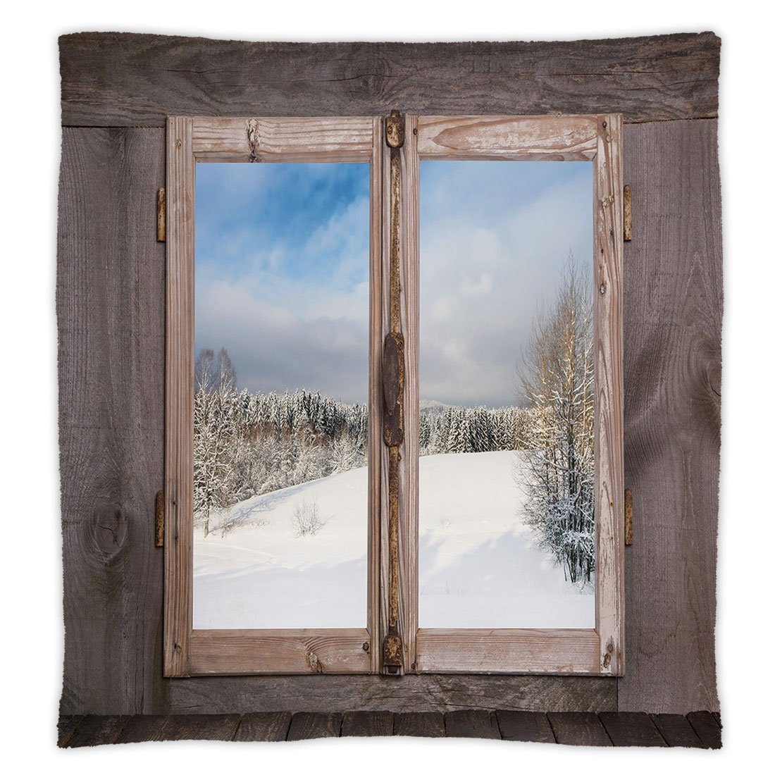 iPrint Super Soft Throw Blanket Custom Design Cozy Fleece Blanket,Rustic,Winter Season Scene from a Wooden Window of Country House Snow Vintage Design,Umber White Blue,Perfect for Couch Sofa or Bed