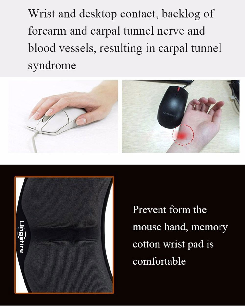 Durable Comfortable Lightweight Easy Typing Pain Relief LINGSFIRE Memory Foam Mouse Wrist Rest Keyboard Wrist Rest Pad Anti-Skid Mousepad Support Wrist Rest Mat for Office Computer Laptop Mac Gray