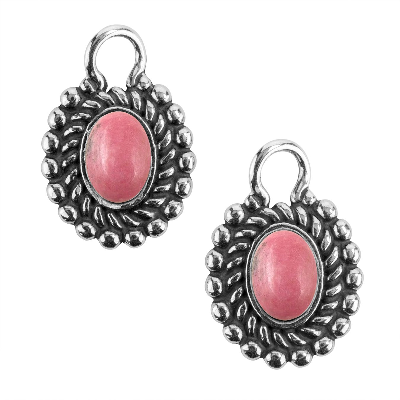 American West - Sterling Silver Pink Rhodonite Concha Earring Drop Set - Treasures Collection
