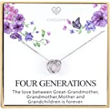 Four Generations Necklace for Great Grandmother - Sterling Silver Four Circles Generation Necklace Gifts for Great…