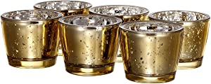 V-More Romantic Thick Wall Mercury Glass Candle Holder Votive Candle Holder Tealight Holder 2.55-inch Tall for Home Decor Wedding Party Celebration (Set of 6, Gold)
