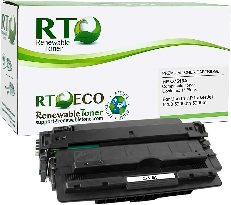 Renewable Toner Compatible Toner Cartridge Replacement for HP Q7516A 16A Laserjet 5200