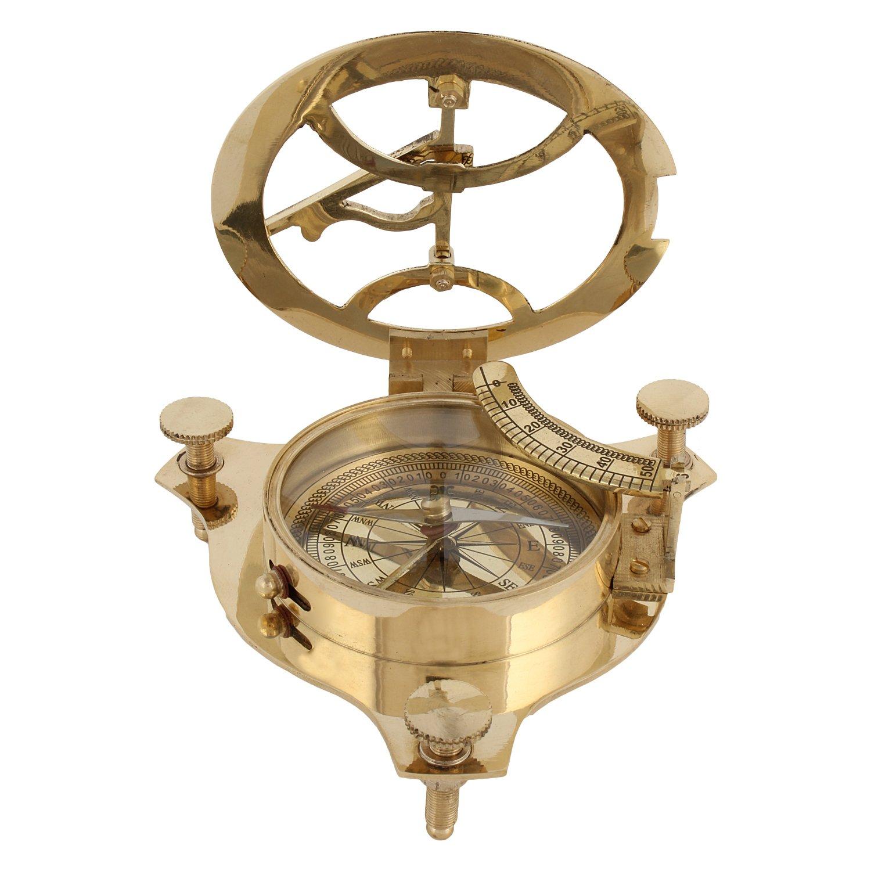 Artshai Brass Sundial Clock Compass, 4 Inch, Beautiful Antique Look, Sun Clock Artshai871