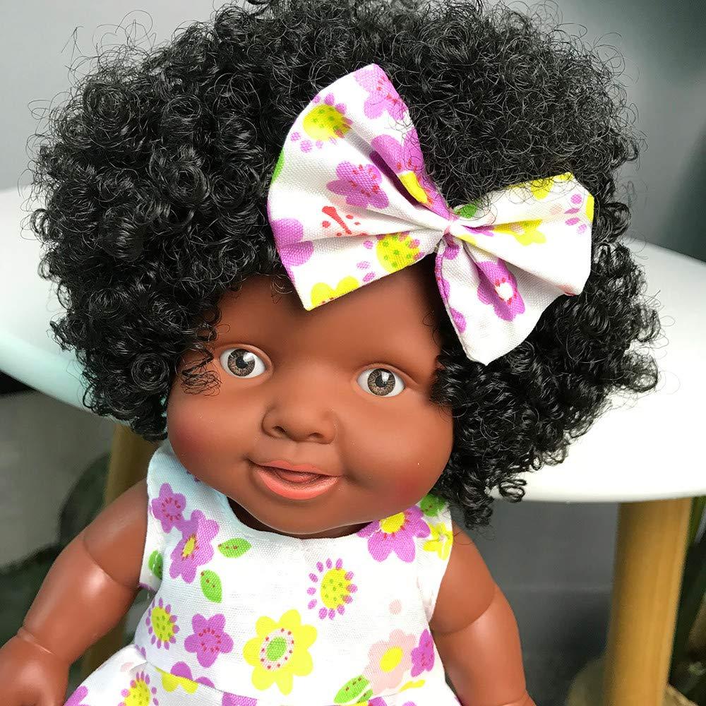 Amazon.es: AmaMary Muñeca Negra Africana, Peluca Afro Negra con Pinza para el Cabello Mariposa 10 Pulgadas (Amarillo): Juguetes y juegos