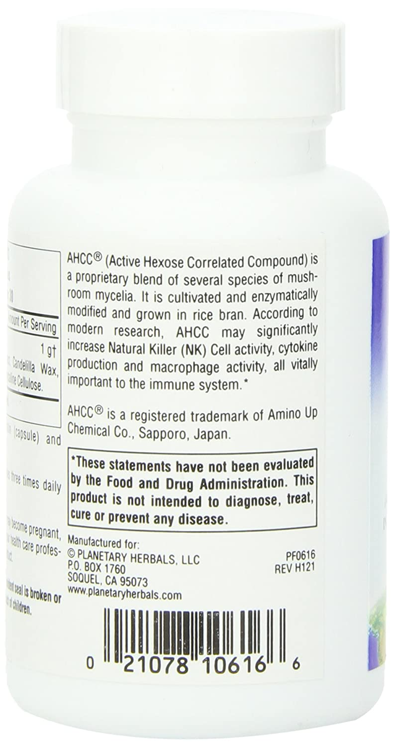 Planetary Herbals AHCC Active Hexose Correlated Compound 500mg, Increases Natural Killer Cell Activity,60 Capsules