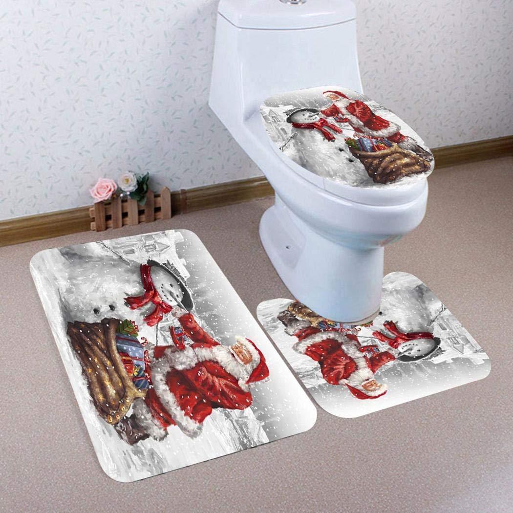 Smiela Tapis de Bain Set Coussin de siège de Toilette Tapis de Noël Bonhomme de Neige Décoration Tapis de Bain