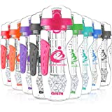 Grsta Beste Frucht Infuser Wasserflaschen 1000ml / 32oz - Aufmachung Gel-Gefrier-Kugel-Infusionsstab - Auslaufsicher Deckel / Klicken Sie Auf Öffnen - BPA Frei Tritan Plastik Trinkflaschen
