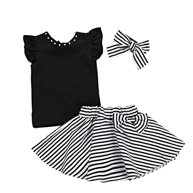 Puseky 3pcs / Set Kids Baby Girl Shirt + Falda Swing de Rayas + ...