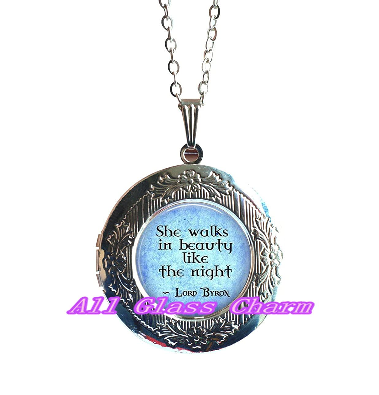 Literature Locket Pendant Poetic Jewelry Beautiful Locket Necklace,Quote She walks in beauty like the night Literary Gift Poem Locket Necklace,AS0238