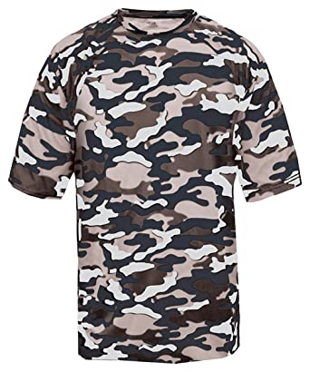 310b4187f Badger Sport Adult Unisex Short Sleeve Camo Tee Shirt - Navy Camouflage  BD4181 L  Amazon.co.uk  Clothing