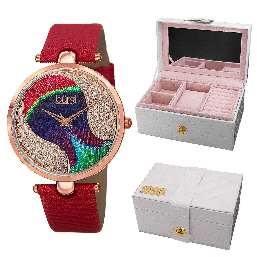 Burgi Women's BUR131 Analog Display Swiss Quartz Watch Gift Set with Leatherette Watch Jewelry Case