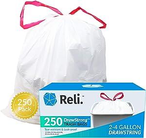 Reli. 2-4 Gallon Trash Bags Drawstring | 250 Count | 18